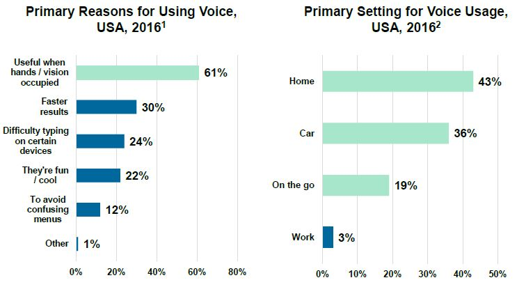 What are the primary reasons and setting people are using voice search?