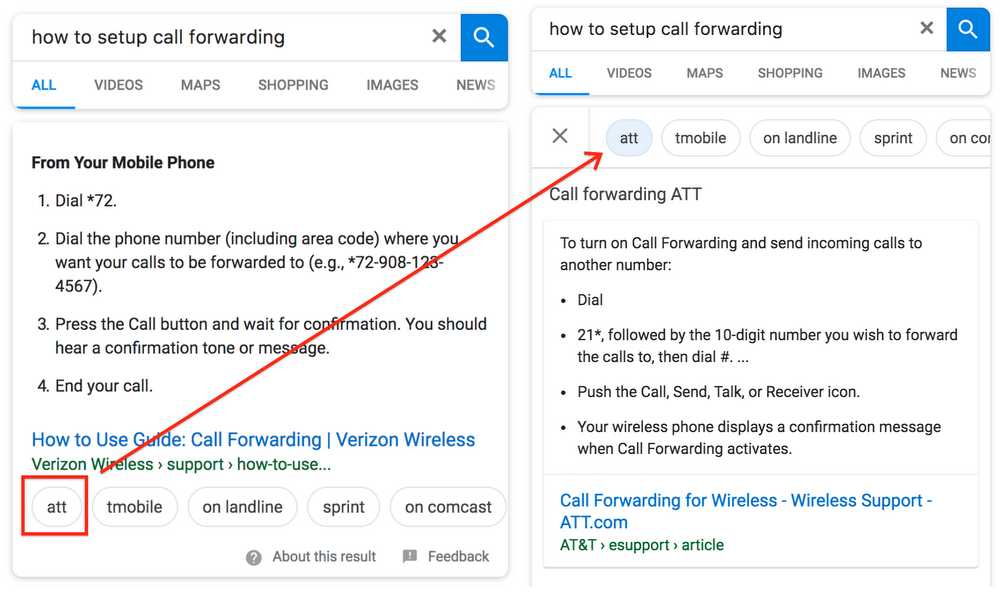 Advancements in Featured Snippets now allow users to interactively select/filter a featured snippet result based on specific situation.